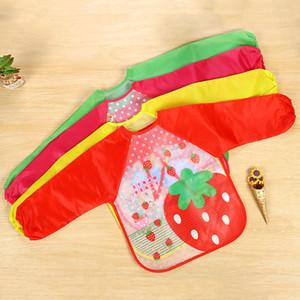 앞치마를 먹이 귀여운 만화 동물 아기 턱받이 방수 다채로운 어린이 턱받이 전체 소매 앞치마 어린이 앞치마 긴 소매