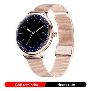 النساء NY12 أنيق الساعات الذكية جولة ساعة ذكية الشاشة لرصد معدل ضربات القلب فتاة متوافق للحصول على الروبوت ودائرة الرقابة الداخلية