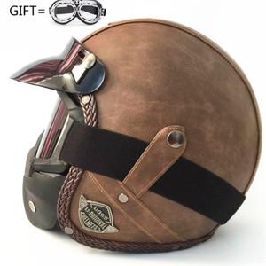 aberto Leather Helmet Harley Preto Estilo Casco motocicleta Abrir rosto meio Capacete de motocicleta do piloto Vespa personalidade camuflagem