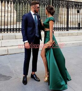 Mode Zwei Stücke Hohe Split Prom Kleider Satin Hunter Grün Plus Size Formale Kleider Robe De Soiree Benutzerdefinierte Party Afrikanische Abendkleider