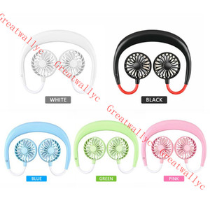 2019 USB portátil recargable Banda para el cuello Lazy Neck Hanging Dual Cooling Mini Fan Sport 360 grados giratorio Hanging Neck Fan