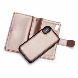 2 en 1 caso magnético Cartera de cuero multifunción raya de la PU para Iphone XS Max ranuras para tarjetas tirón en folio del caso para Iphone XS XR 6 8 7 más