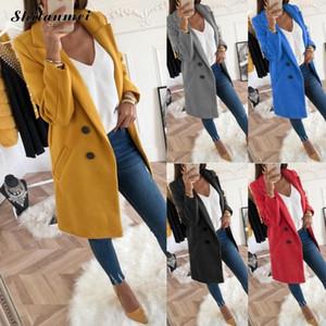 2018 Otoño Invierno Mujer Tallas grandes Moda Abrigo de lana Manga larga Negro Gris Oversize Blazer Outwear Chaqueta Abrigos XXXL