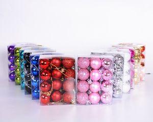 Свет Рождества Бал 3см 24pcs / коробка Пластиковые шары Елочные блесна рождественские украшения Красочные шары HP003