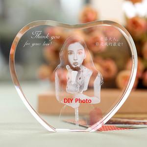 Охладить Сердце Кристалл Photo Frame Пользовательские 2D / 3D Лазерная гравировка Baby, Семья, Путешествия, Рамки Свадебные фоторамки для стекла с репутацией