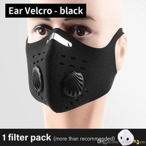 US-Stock-Radfahren Schutzmasken mit Filter Werte Schwarz Activate Carbon-PM2.5 Anti-Staub-Sport Running Training Bike wiederverwendbare Masken
