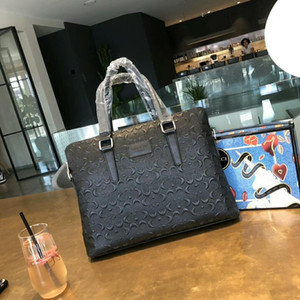 Primera marca Maletín de cuero para hombre simple bolso de la cartera grande sólido portátil hombre de negocios mensajero del bolso de los hombres