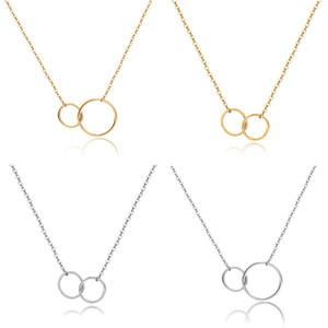 Nueva informal doble círculo diseñador de plata collar de cadena de oro collar de la declaración inicial de la Mujer Eternidad Enclavamiento del aro colgante Infinity