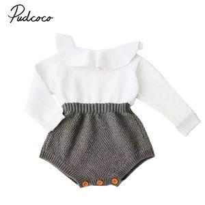 Pudcoco nouveau-né bébé fille mélange de laine bébé barboteuse pull en tricot chaud à manches longues barboteuses automne automne MX190720