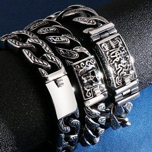 Cool Heavy 15MM Chain Stainless Steel Bracelet Male Gothic Skull Head Mens Bracelets Metal Bangles For Men Massive Hand Jewelry
