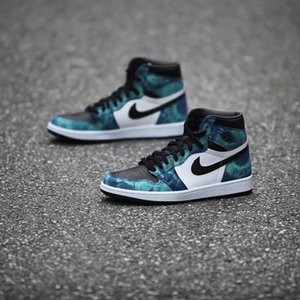 Nike air jordan 1 High Og Tie Dye STYLE CD0461-100 WHITE BLACK AURORA GREEN Mens Basketball Shoes Patent Leather Upper Nakeskin airJordan Sneakers