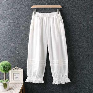New summer casual pants solid cotton linen elastic wasit pants