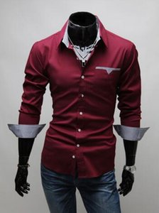 Mens Shirt Long Sleeve Dress Business Shirts Regular Fit Fashion Style with 3 Colors Asian Size M-3XL