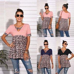 Womens Designer T-shirts col V à manches courtes T-shirts occasionnels de la mode loose Sundress Femme Chemises Patchwork Leopard d'été