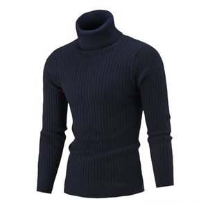 Mens Autumn Winter Casual Pure Color Turtleneck Long Sleeve Knitted Sweater Men's Sweaters Men's Clothing Top Sweater Men Pull Homme Hiver S