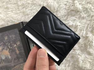 El envío gratuito del bolso de la marca de moda famosa de las mujeres vende el bolso de la tarjeta clásica de cuero de alta calidad diseñador de cartera con número de serie