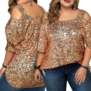 Blingbling Sequins Women T Shirts Big Size Straps Neck Half Sleeves Loose Casual Top Sexy Nightclub Party Tees 2020 Summer XL---4XL