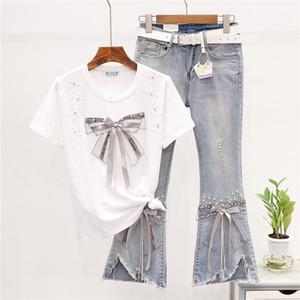 2 Piece Wear Set Mulheres Verão New frisada bowknot Cotton T-shirt + desgastado boca de sino Jean Pants Two-Piece Set Conjunto Feminino