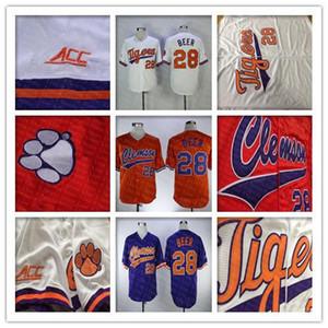 Clemson Tigers College Baseball Jersey Seth Beer 28 Accueil Route extérieur Blanc Orange 100% Cousu Logos Shirts Bonne Quanlity