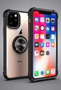 Военный противоударный Металлическое кольцо телефона чехол для iPhone 11 Pro Max XR XS Max 8 7 Plus Примечание 10 Pro Case Clear Назад