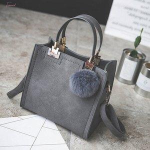 Handbag Women Shoulder Bag Handbags Women Bags Designer High Grade Scrub Leather Messenger Bag Hairball Women Bag Zer