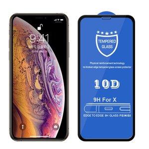 Pegamento adhesivo completo de vidrio templado 10D para iPhone 12 Mini 11 Pro MAX X XR XS SE 2020 8 7 PLUS CUBIERTE CUBIERTE CUBIERTE COMPLETO NINGÚN PAQUETE
