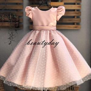 Blush Pink Свадебных платьев девушка цветка Puffy Пачка 2020 малышей Маленьких девочек Pageant причастия платье лук тюль атлас Cap рукав Дешевый