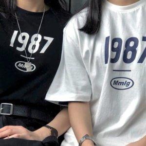 2020 kadın elbisesi öğrenci 1987 baskılı MMLG yarısı kısa pamuk gevşek çift 2020 kadın elbise öğrenci 1987 MMLG yarım kollu kısa s basılan