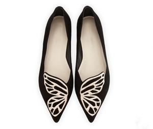 Sıcak Satış-Bahar ve Yaz Düz Ayakkabı Sivri Sığ Ağız Kayma-Rahat kadın Ayakkabı ile Kelebekler Kanatları Desen Dekorasyon