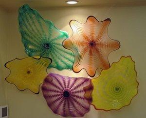 Big Fancy calde di vendita 100% Handmade soffiato Piastre Art Glass Flower Holiday Party China Wall Light
