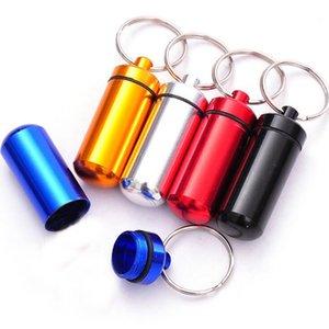 금속 방수 알약 상자 케이스 열쇠 고리 열쇠 고리 열쇠 고리 의학 저장 주최자 병 홀더 컨테이너 합금 200PCS 17X48mm 알루미늄