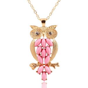 Ожерелья с подвесками для женщин Vintage Pink Gem owl chain Красивое длинное ожерелье, ювелирные изделия для женщин Древний ретро Сова, свитер, цепочка, ожерелье