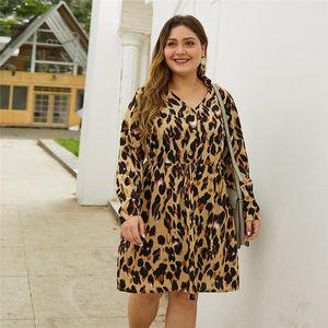 Womens Robes Casual Plus Size Robes Automne V Robe léopard manches longues Plus Size Leopard femmes Designer Dayly Vêtements
