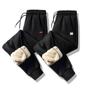 Hot Winter Solid Color Lamb Velvet Feet Pants Men Thick Lambskin Trousers Sweatpants Large Size Pants 6XL 7XL Casual Male