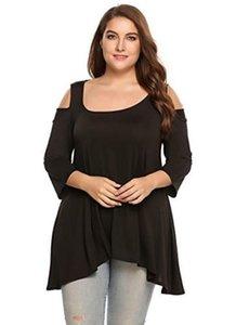 Kadınlar Soğuk Omuz tişört Casual Gevşek Yaz Geniş Omuz sapanlar T-Shirt Tee Pamuk Artı Boyutu Tops