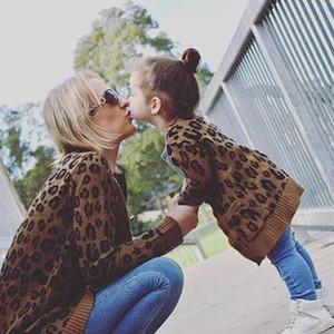 2018 Новый женский Leopard свитер Кардиган семьи мама и дети Matching одежда пальто куртки моды с длинным рукавом трикотаж свитера осень зима
