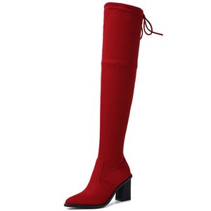 Doratasia 2020 wholesale big size 43 fashion chunky heels stretch boots women shoes woman pointed toe over the knee boots woman