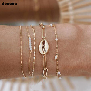 Beach Gold Color Beads Shell Pearl Multilayer Bracelet Bangle Set para mujer Charm Tobillera Set Party Jewelry Gift A09401