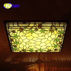 FUMAT Tiffany Sala de estar Lâmpada Atmosfera Retangular LEVOU Lâmpada Do Teto Americano Vines Lâmpada Criativa Decoração Quente