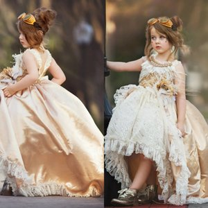 Vintage High Low Girls Pageant Dresses Jewel Neck Pearls Lace Feather Party Birthday Gowns Flower Girl Dress For Weddings