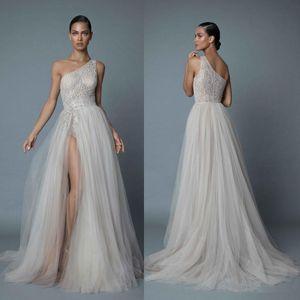 Berta 2019 eine Schulter Brautkleider Sexy Spitze Appliqued Perlen A-Linie Side Split Brautkleider Plus Size vestido de novia