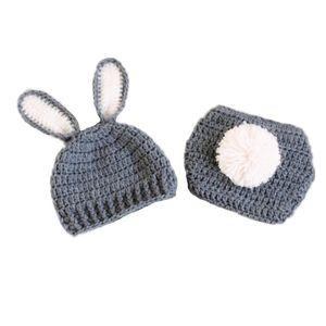 Yenidoğan Gri Beyaz Paskalya Bunny Kıyafet, El Yapımı Örgü Tığ Erkek Bebek Kız Tavşan Bunny Beanie Şapka ve Bezi Kapak Set, Bebek Fotoğraf Prop