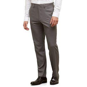 Mens Flat Front Suit Pants Straight Leg Slim Fit Smart Dress Pants Formal Business Suit Trousers