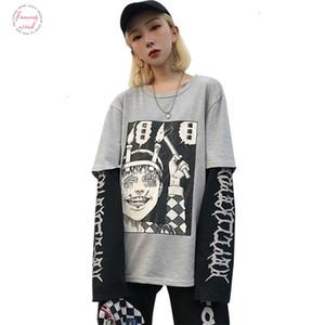 Harajuku japonés Junji Ito animado impresión Camiseta de las mujeres falso 2 Piezas O Cuello de manga larga floja ocasional Mujer camiseta