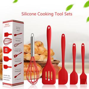 Silikon Kochen Werkzeug-Sets 5PCS / Set Egg Beater Schaufel Spachtel Ölpinsel Antihaft-Geschirr Küchenutensilien Sets