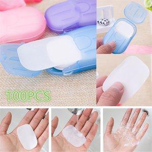 20pcs / set Voyage portable se laver les mains savon de bain Papier Feuilles Trancher Savon parfumé Moussant papier jetable cas Mini savon