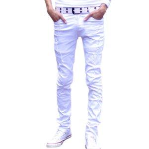 Distrressed Mens Casual Denim Pants Size 27-34 Slim Fit Fashion Cotton Bermuda Jeans Masculina White Skinny Men Jeans