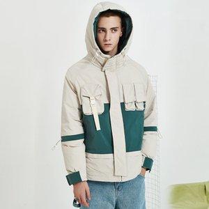 Mann-Winter-weiße Ente unten starke mit Kapuze Cargo-Jacke Männer Street Hip Hop-beiläufige lose Warm Overcoat Daunenmantel