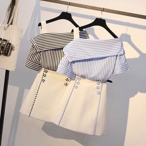 Kadınlar Kayış Çizgili Gömlek üstü + Düğme A-Line Etek Casual 2020 Yaz Eğik Omuz Bluz Öğrenci Kız Etek Setleri Takımları