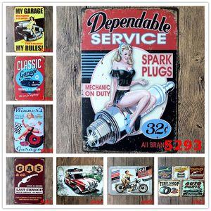 Metallblechschilder Auto Reparatur Shop Poster Vintage Dame Motor Plaketten Dekorative Eisenplatten Bar Club-Wand-Dekor 39 Designs